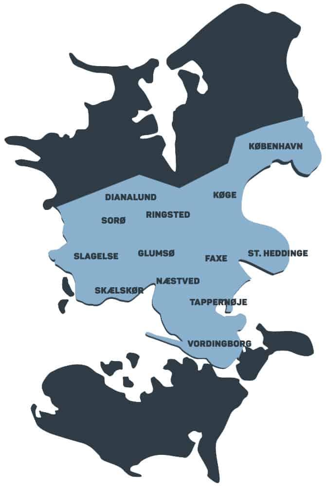 Dækningskort med fokus på midten af sjælland